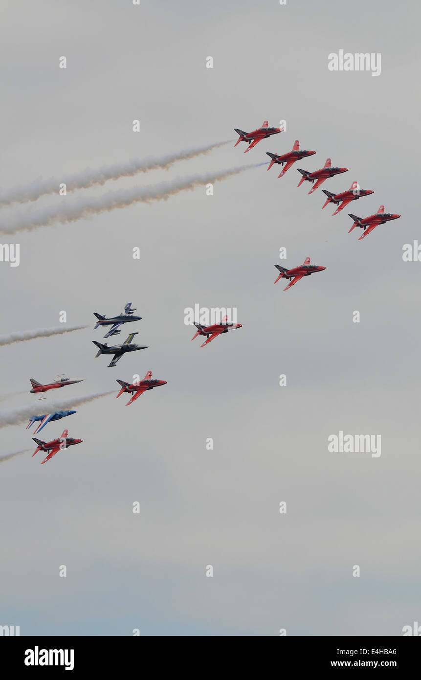 The Red Arrows were the focus of a special event on the Friday of the Royal International Air Tattoo (RIAT) at RAF - Stock Image