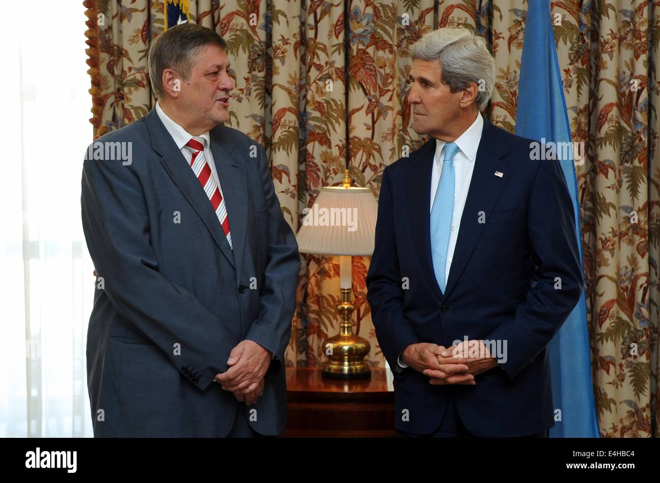 US Secretary of State John Kerry with Jan Kubis, head of the United Nations Mission in Afghanistan at the U.S. Embassy - Stock Image