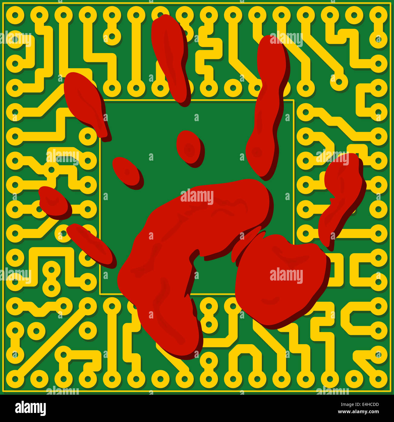 Computer technology fingerprinting. Handprint over the the electronic board - illustration - Stock Image