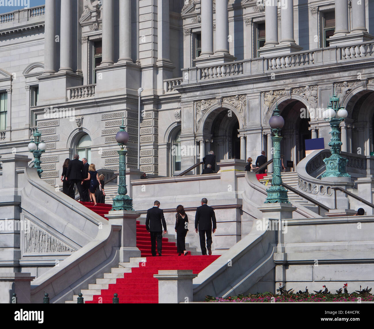 Library of Congress front entrance steps - Stock Image