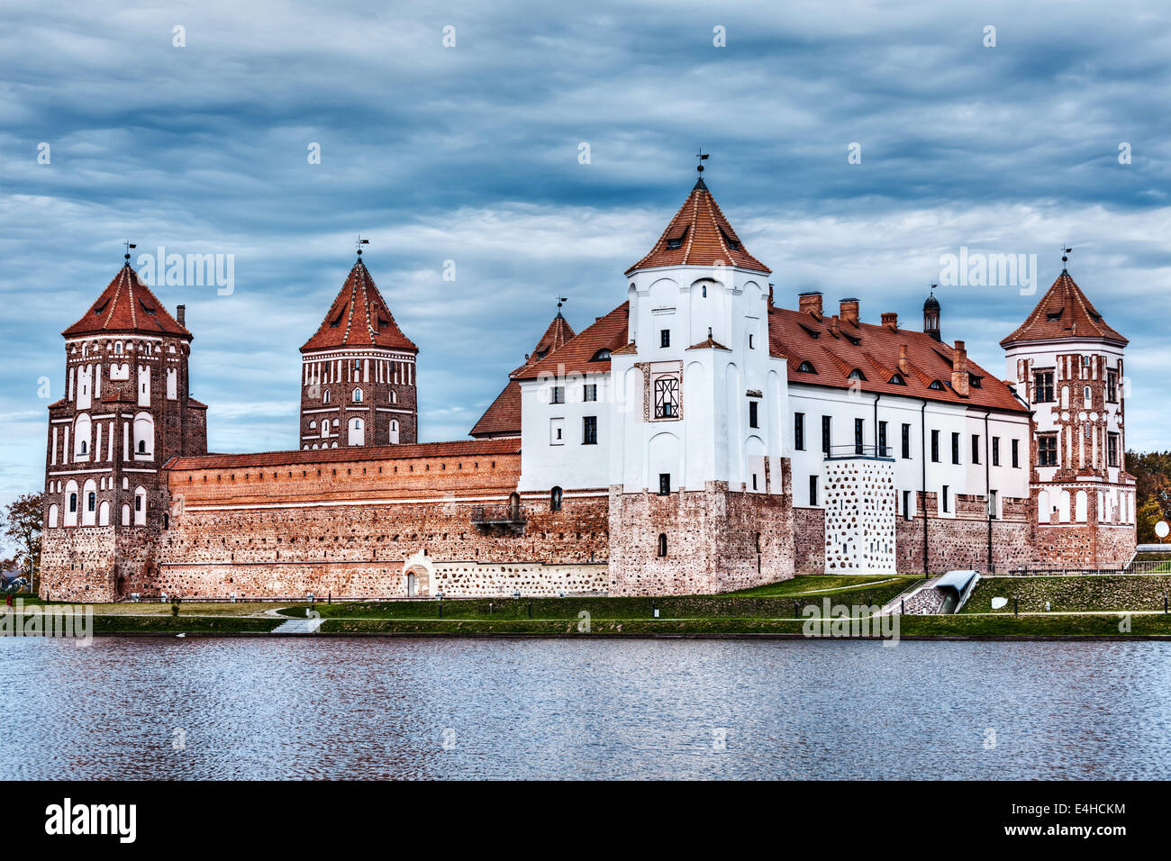 High dynamic range (hdr) image of medieval Mir castle famous landmark in town Mir, Belarus - Stock Image