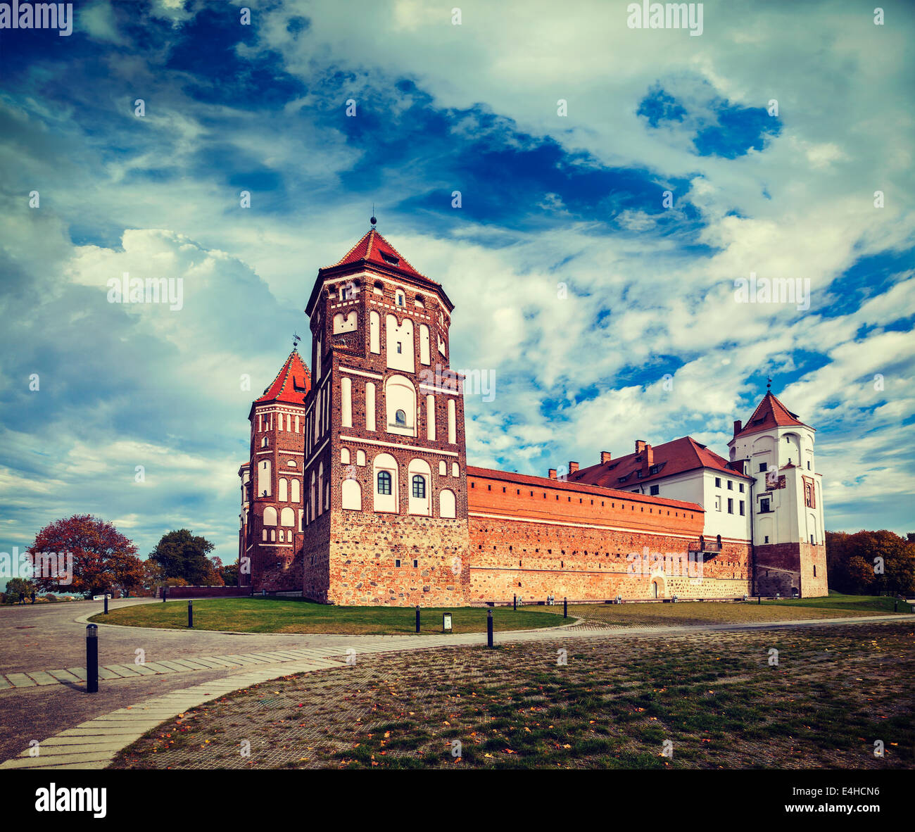 Vintage retro effect filtered hipster style travel image of medieval Mir castle famous landmark in town Mir, Belarus - Stock Image