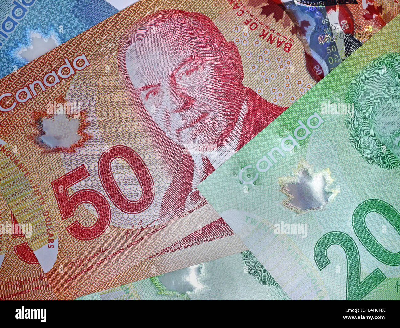 Canadian currency made of polymer instead of paper - Stock Image