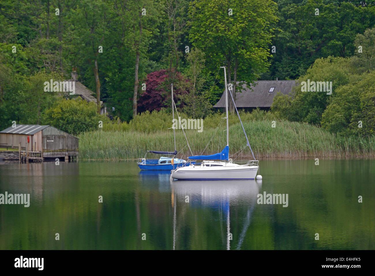 Coniston water, lake district, cumbria. Sailing boats - Stock Image