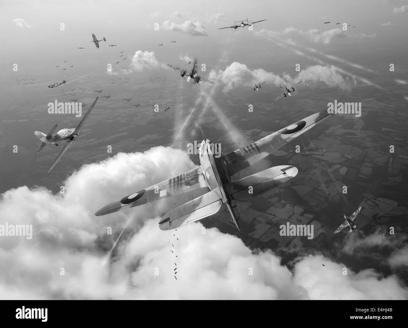 RAF Hawker Hurricanes making a head-on attack against German Luftwaffe Messerschmitt Bf 110s in the Battle of Britain, - Stock Image