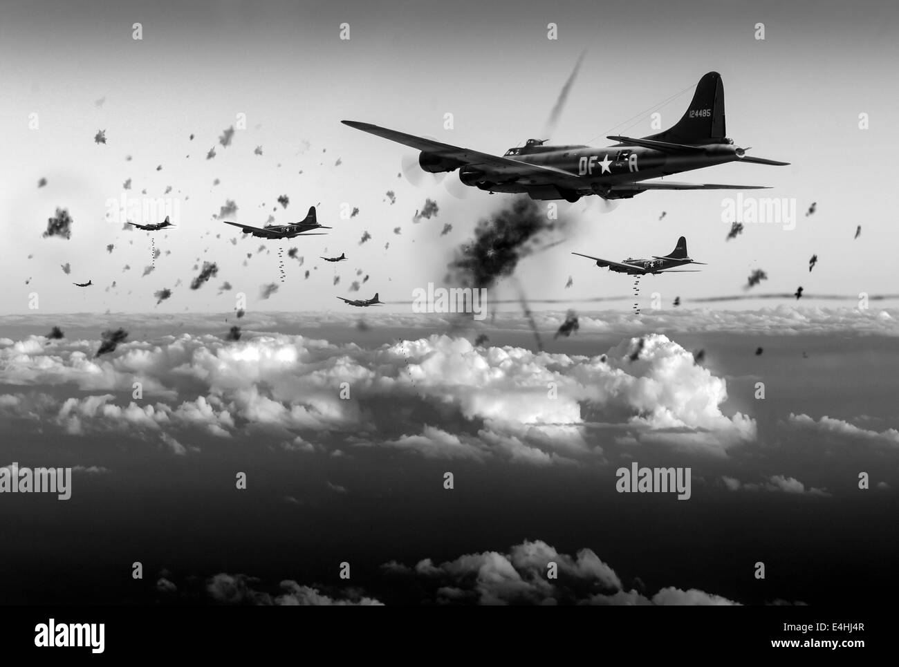 American B-17 Flying Fortresses taking flak on a daylight bombing operation over occupied France in late 1942. These Stock Photo
