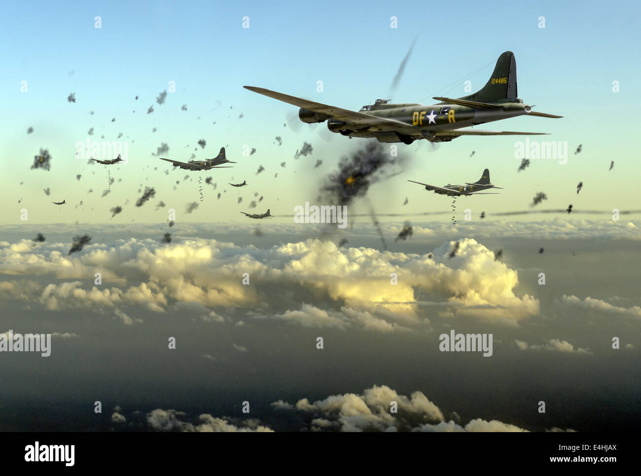 American B-17 Flying Fortresses depicted taking flak on a daylight bombing operation over occupied France in late Stock Photo