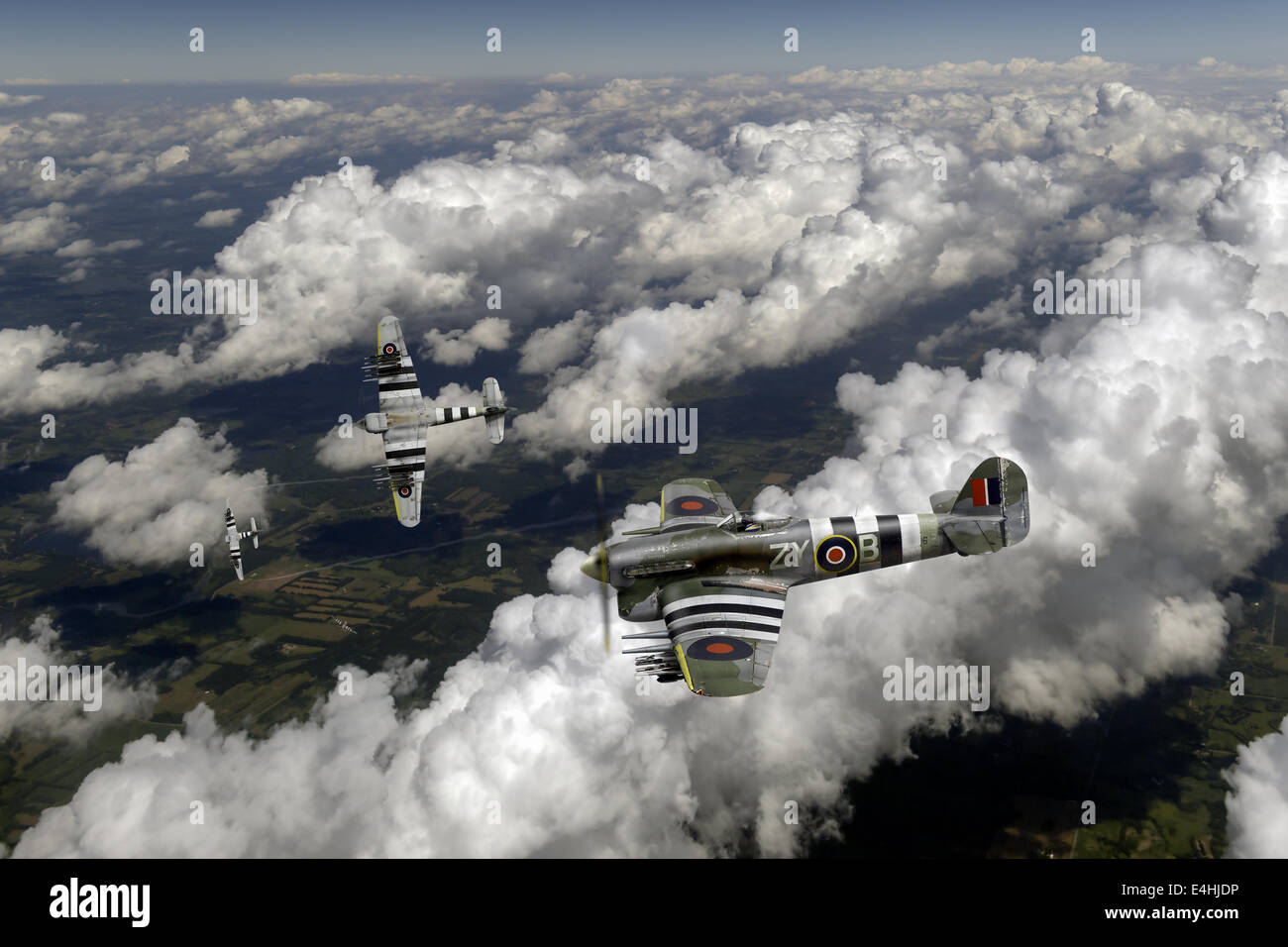Hawker Typhoons from No. 247 (China British) Squadron, sporting D-Day invasion stripes, beginning an attack dive Stock Photo