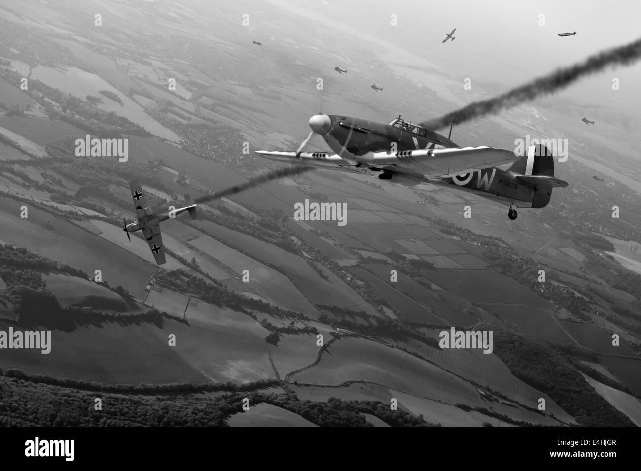 Battle of Britain aerial combat dogfight artwork showing RAF Hawker Hurricane shooting down a Luftwaffe Messerschmitt - Stock Image