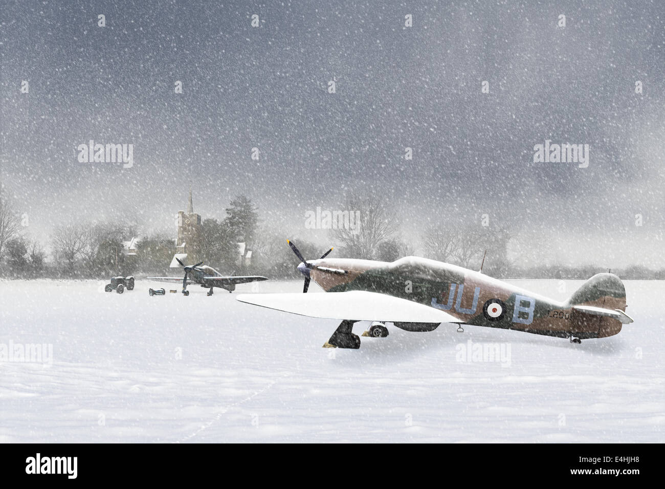 No. 111 ('Treble One')  Squadron Hawker Hurricanes in a Christmas card scene, set in the hard winter of 1939-40. - Stock Image