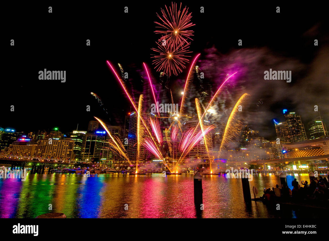 Fireworks, Darling Harbour, Sydney, New South Wales - Stock Image
