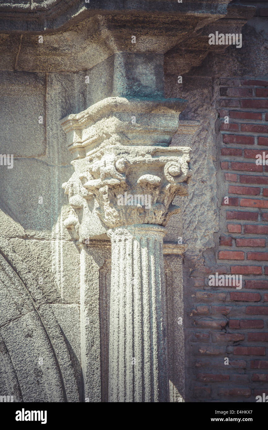 pillar corinthian capitals stone columns in old building in spain