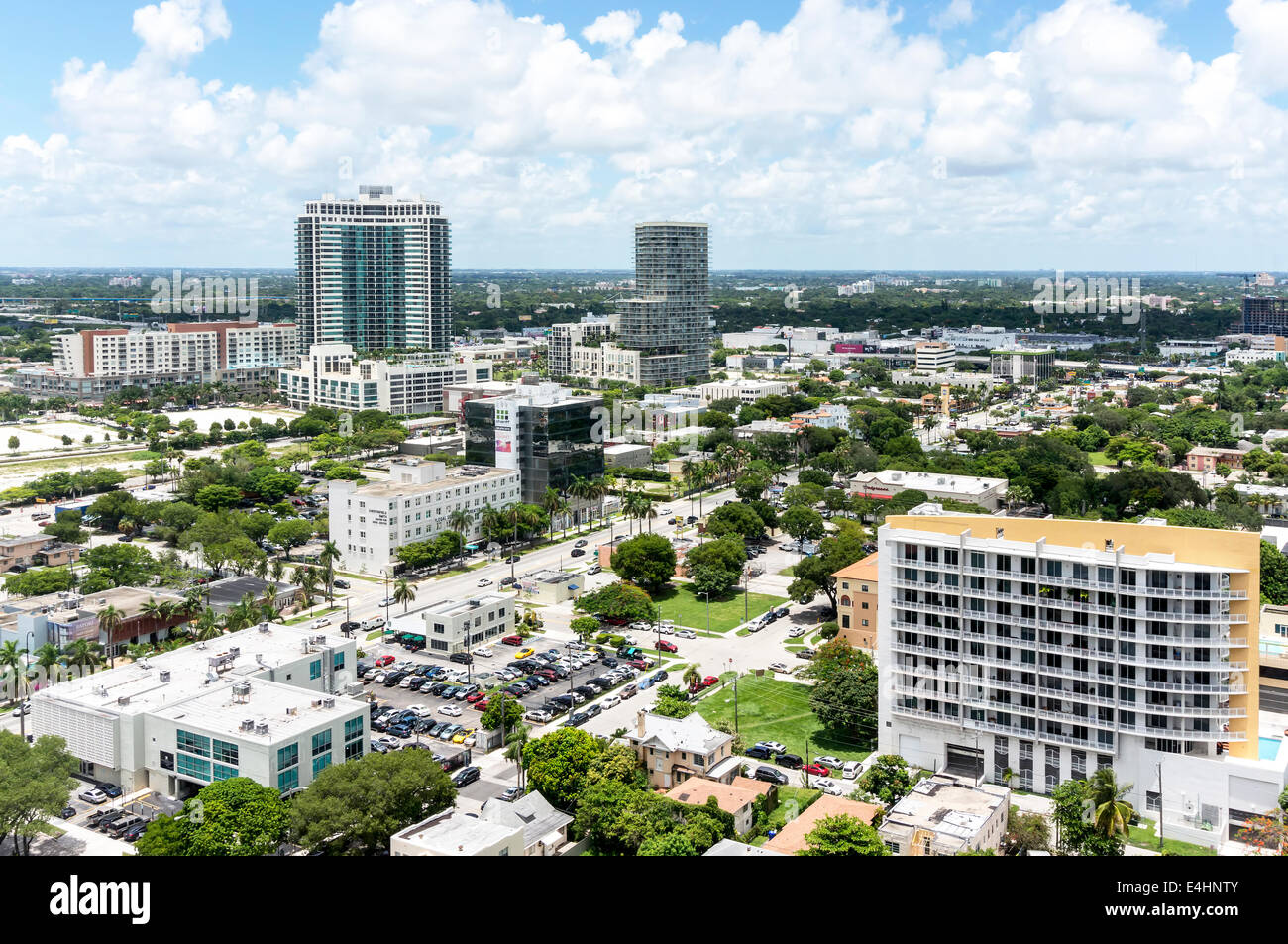 Aerial view of Downtown Miami viewed from an upper floor of a new condominium high-rise tower in Midtown Miami, Stock Photo