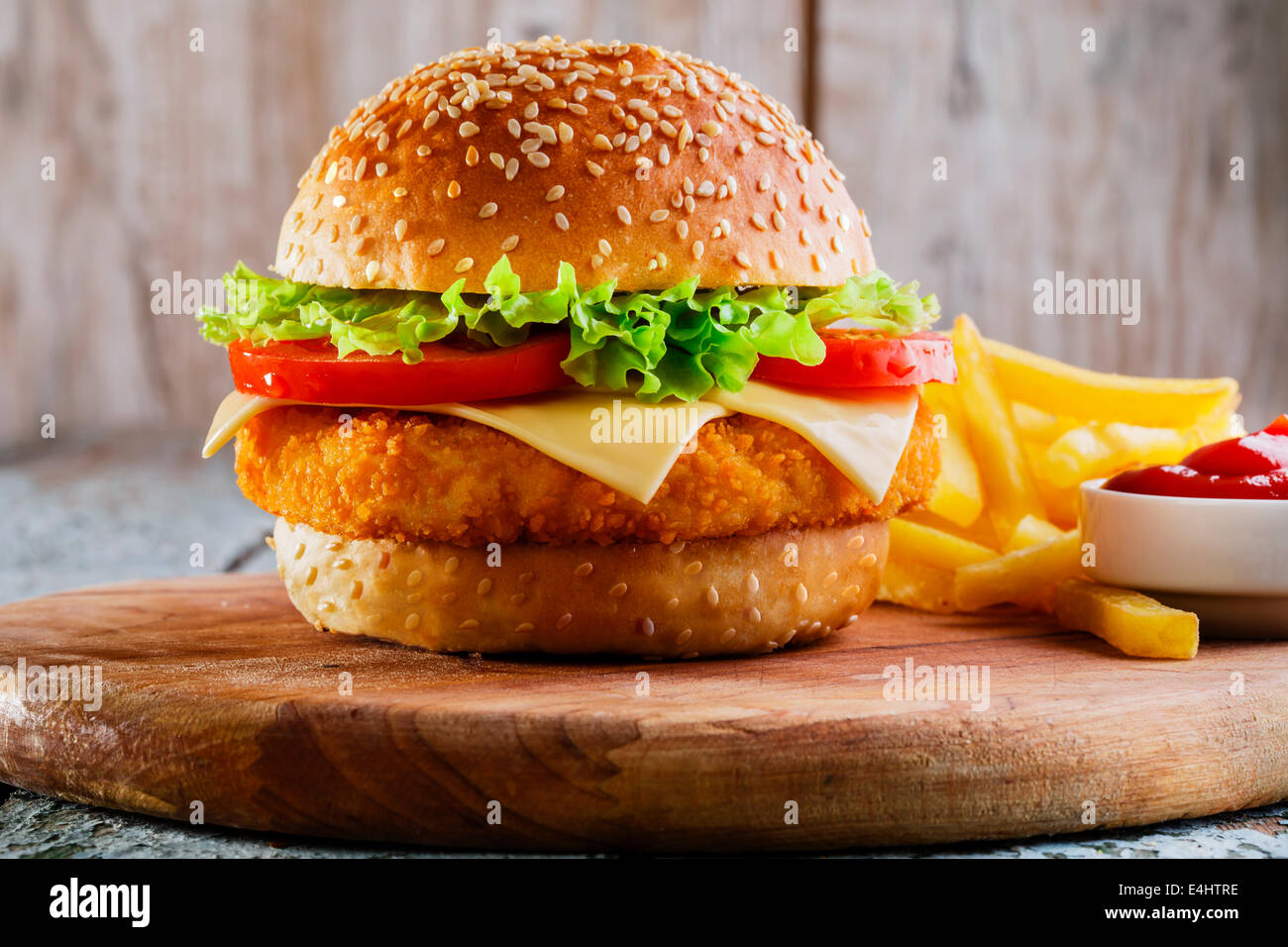 hamburger with cutlet breaded - Stock Image