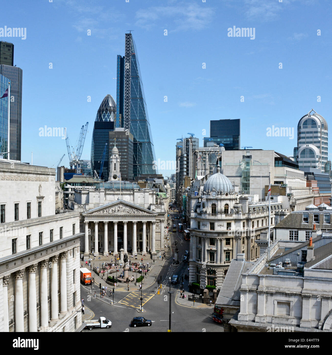 Part of the City of London Square Mile financial district skyline centered around the Bank road junction old and - Stock Image