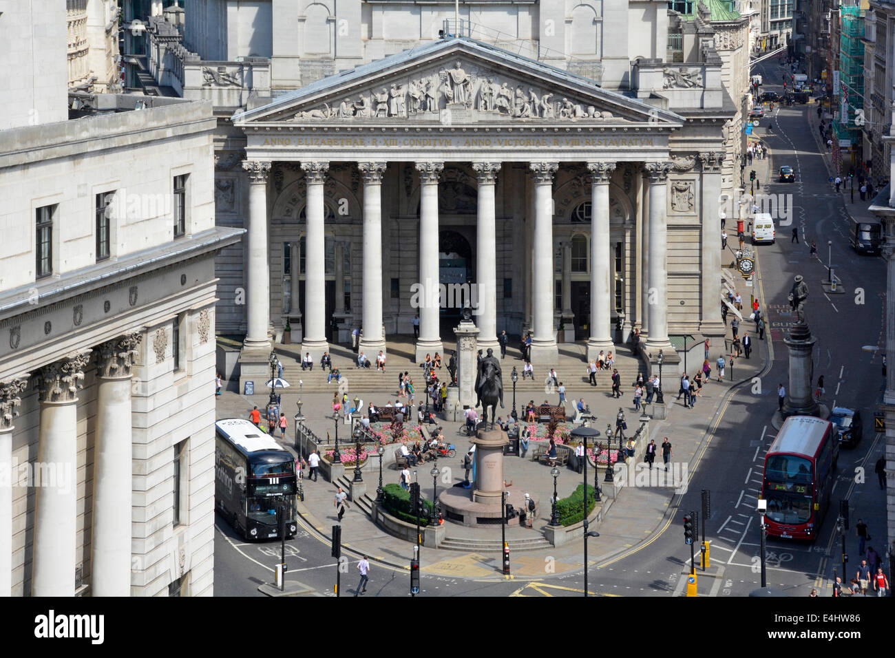 Royal Exchange building between Cornhill and Threadneedle Street at the Bank road junction - Stock Image