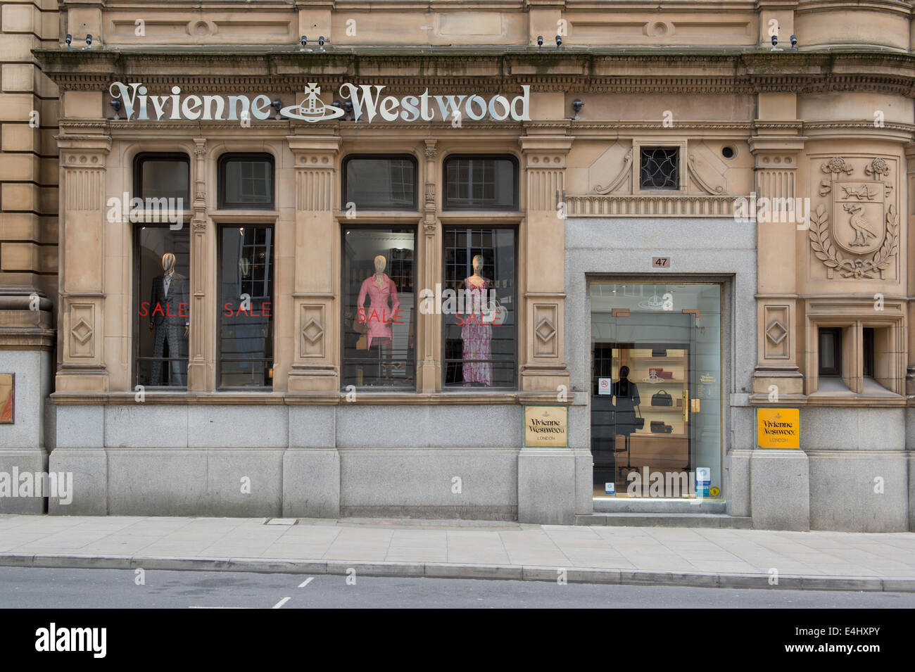 The storefront of the fashion retailer Vivienne Westwood in Spring Gardens Manchester. - Stock Image