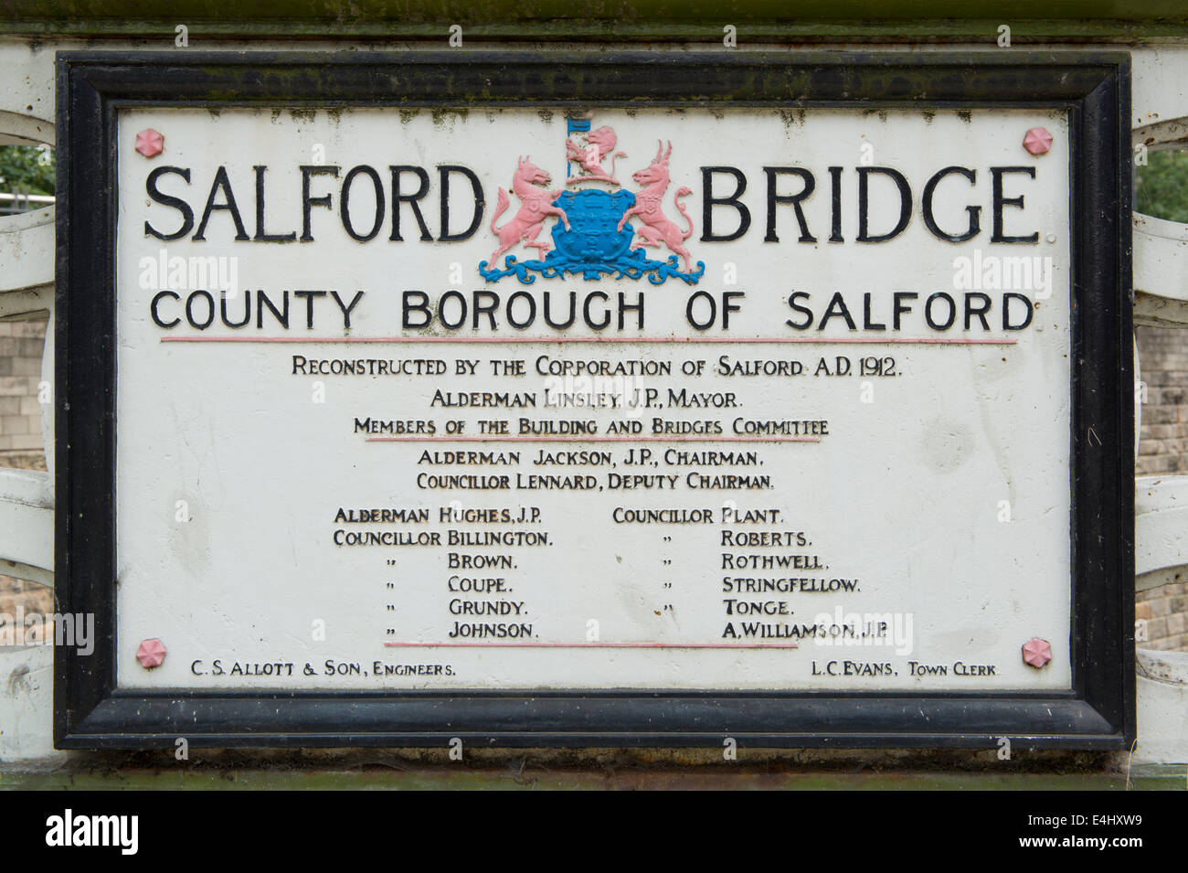 Plaque marking reconstruction of Salford /Palatine Bridge / Cathedral Approach passing over River Irwell / Manchester - Stock Image