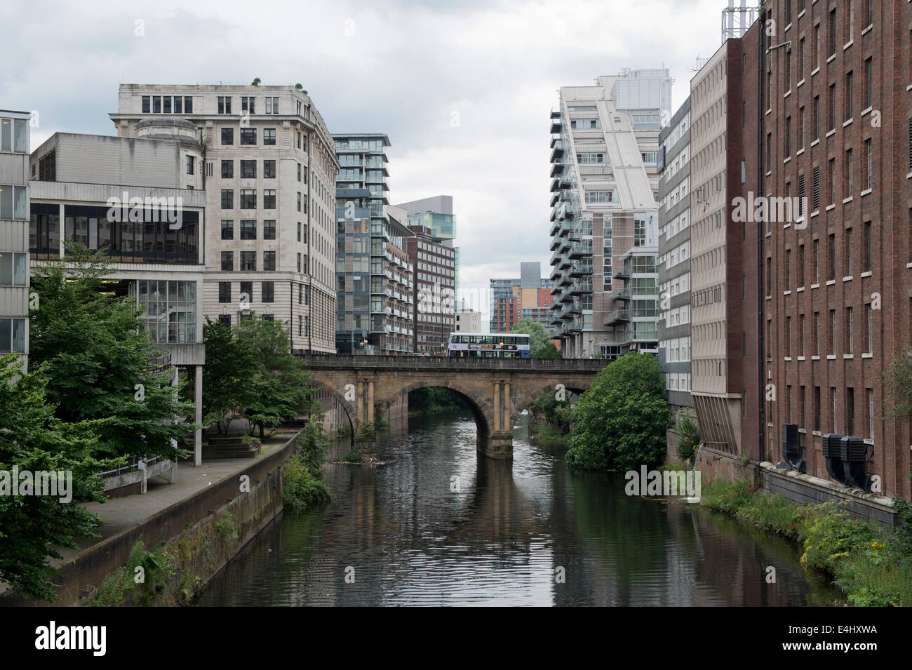 A view of Blackfriars Street bridge, the Manchester Ship Canal / River Irwell, and Salford, taken from Victoria - Stock Image