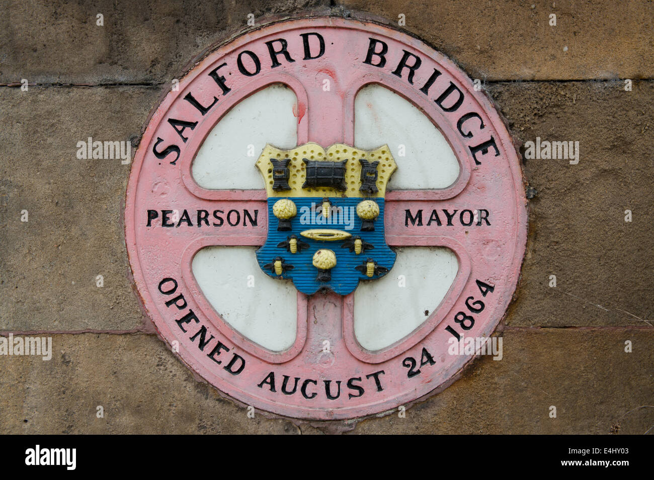 Plaque marking construction of Salford /Palatine Bridge / Cathedral Approach passing over River Irwell / Manchester - Stock Image