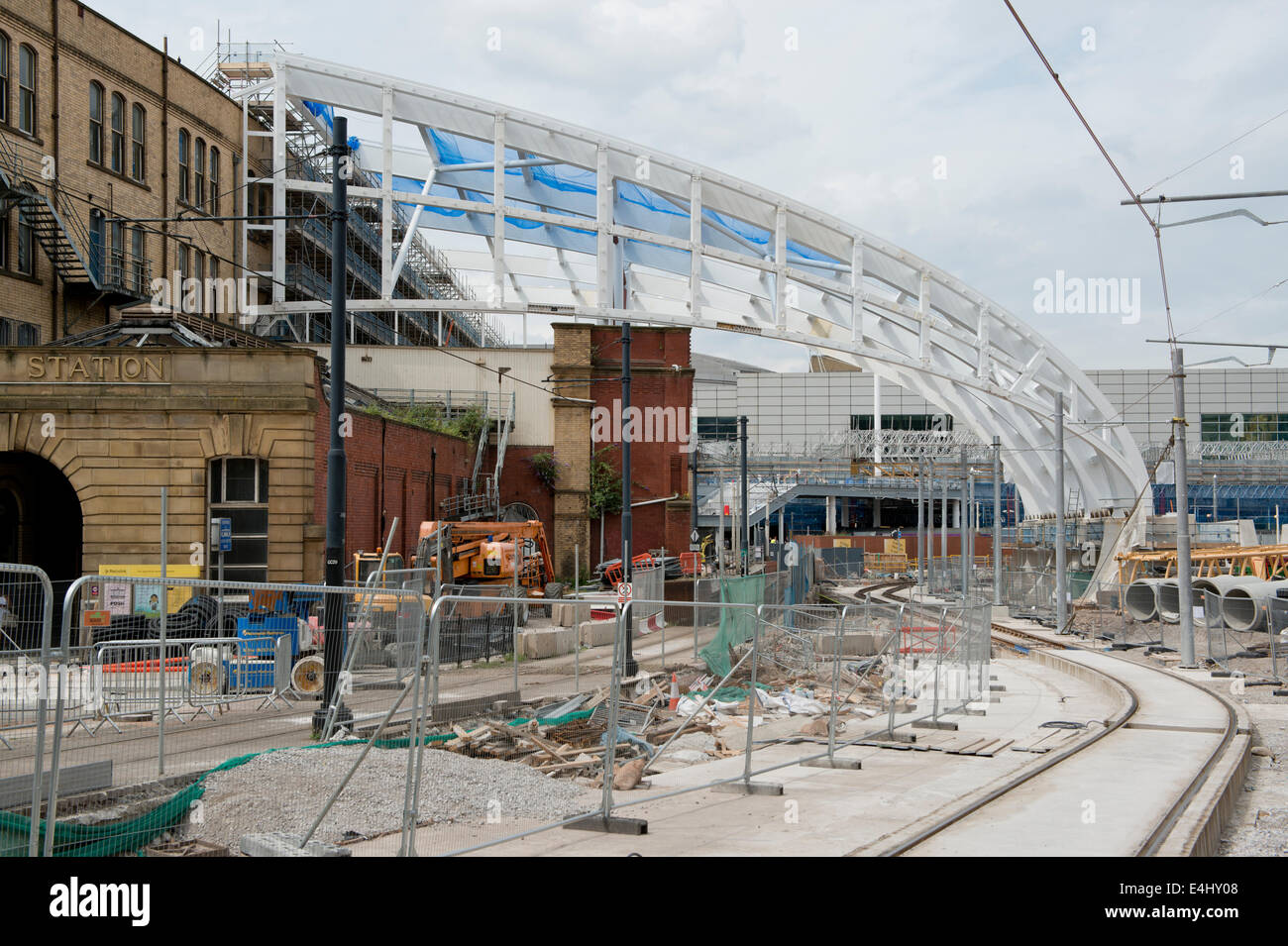 Redevelopment taking place of the roof structure at Manchester Victoria Rail Railway Train Station. - Stock Image