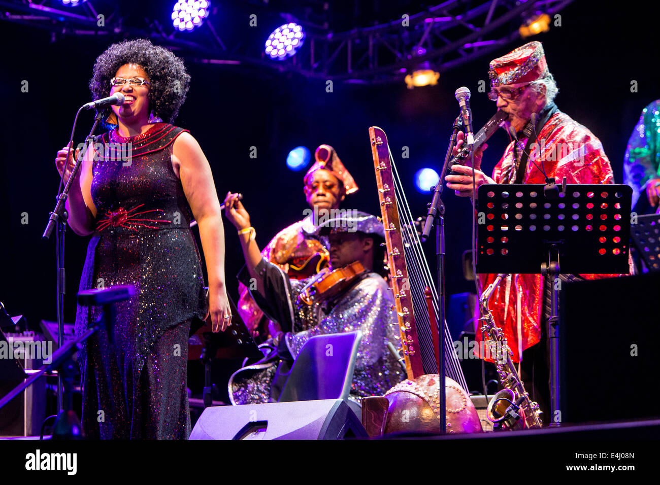 Lugano Switzerland. 11th July 2014. The American jazz band SUN RA CENTENNIAL DREAM ARKESTRA performs live at Piazza - Stock Image