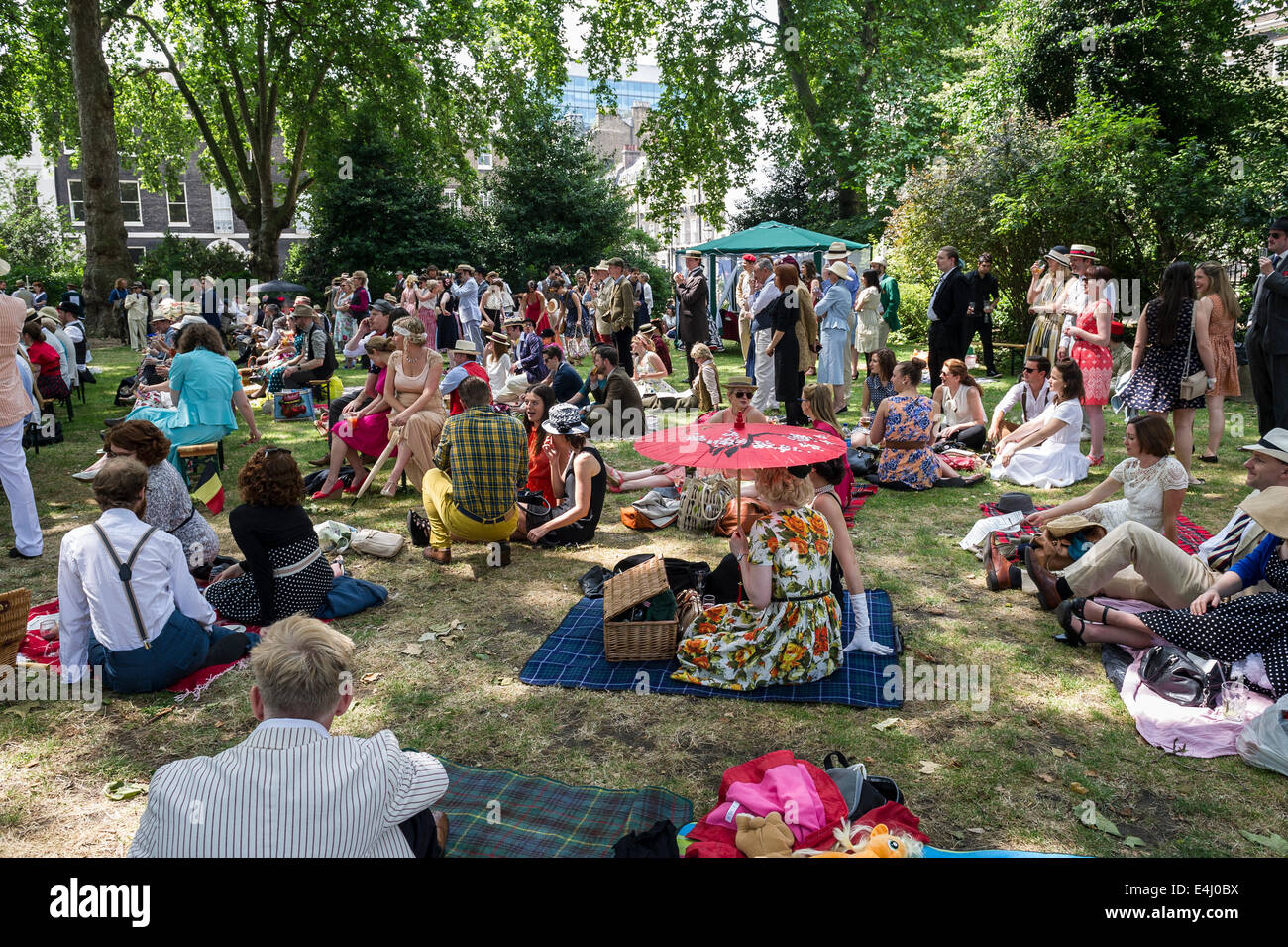 Bedford Square, Bloomsbury, London, 19th April 2014.  People enjoying the 10th anniversary celebrations of the Chap - Stock Image