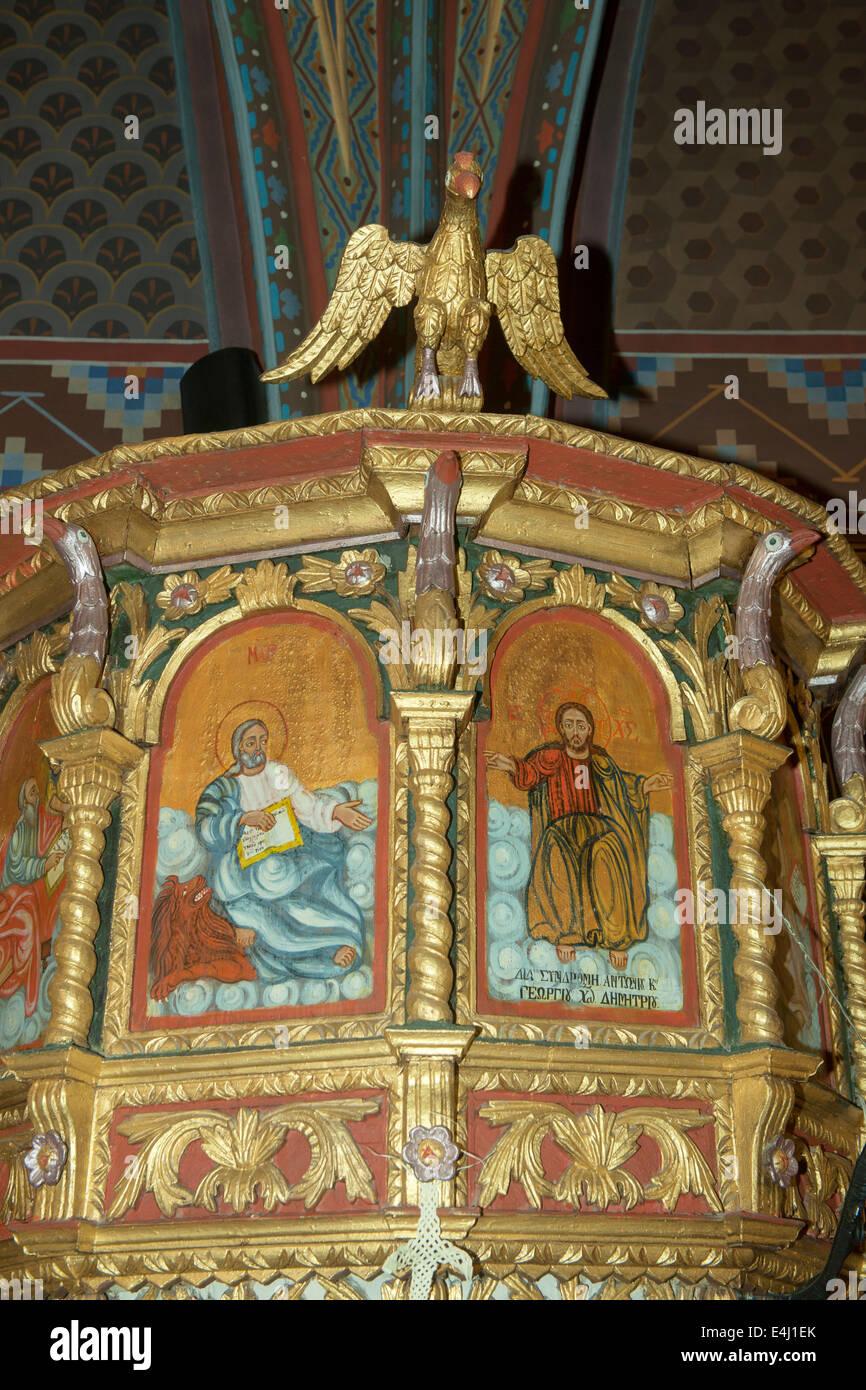 Griechenland, Rhodos, Laerma (Laermas), Kanzel in der Dorfkirche Stock Photo