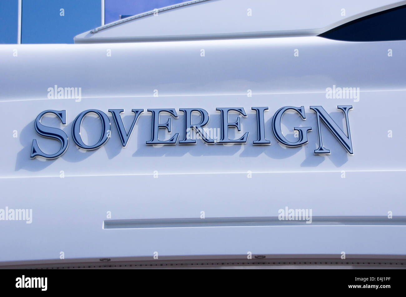 Sovereign, private yacht, moored at Newcastle Quayside - Stock Image