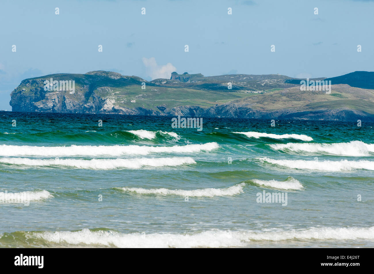 Looking over the sea towards Horn Head, Donegal, Ireland. - Stock Image