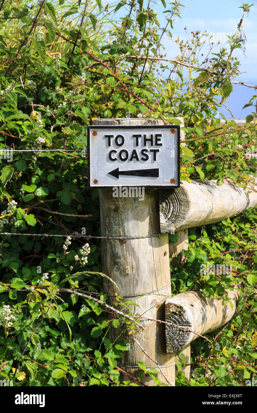 A sign on a field fencepost reads 'To the Coast' on the South West Coast Path near Crackington Haven in - Stock Image
