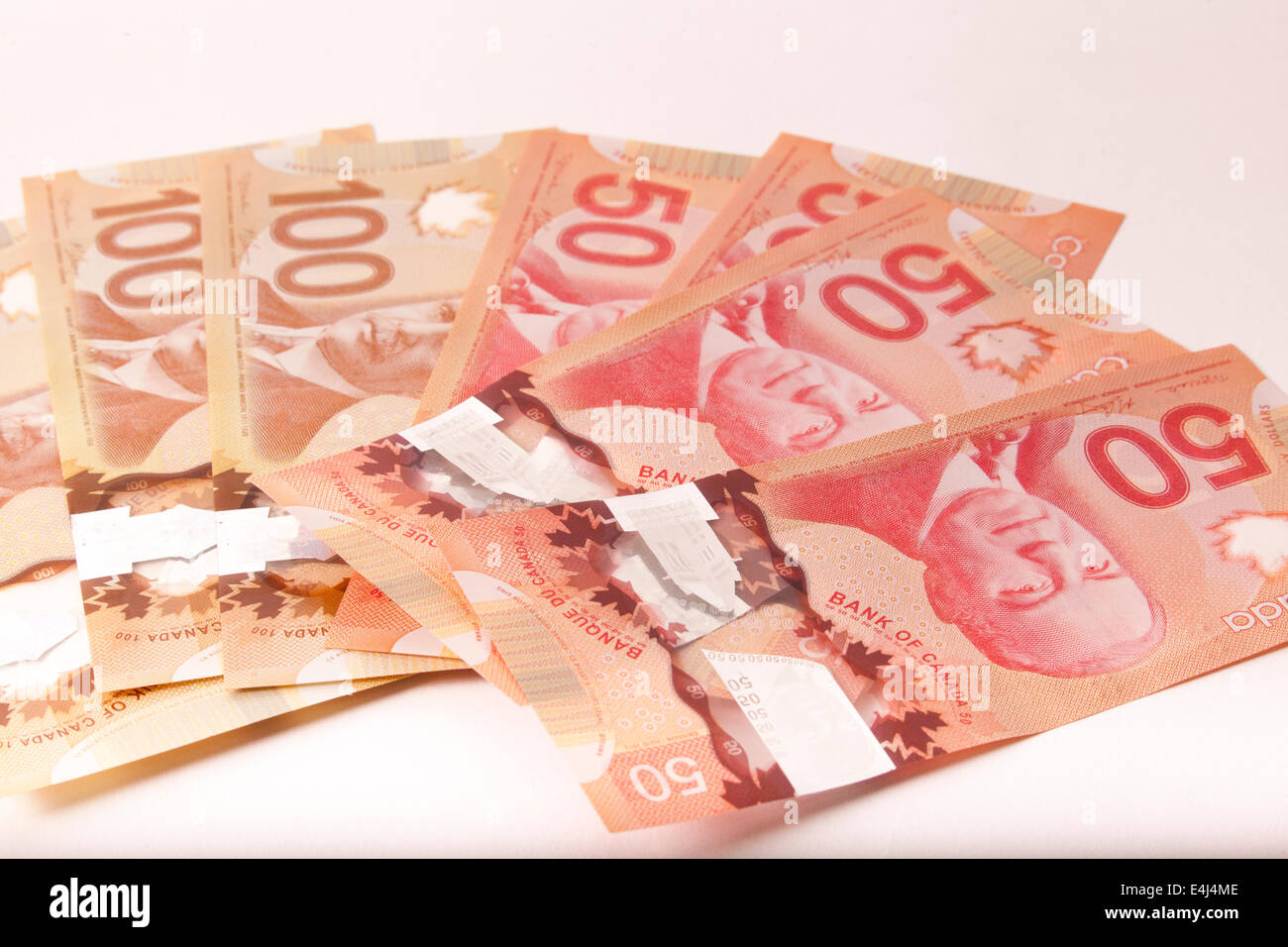 Canada currency fan 50 and 100 dollar bills - Stock Image
