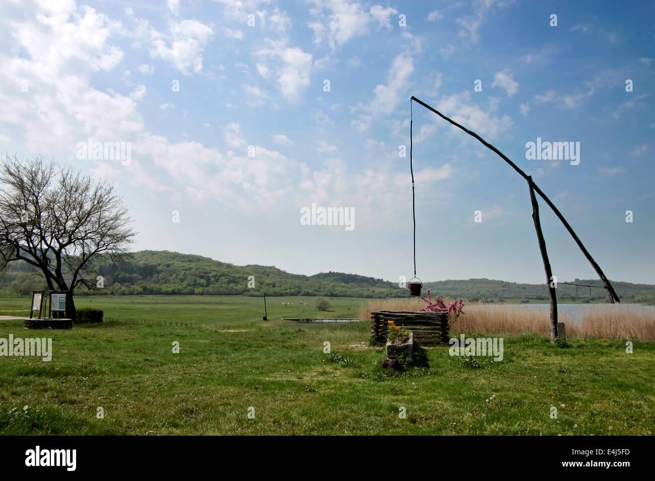 Old well in Tihany at Lake Balaton, Hungary - Stock Image