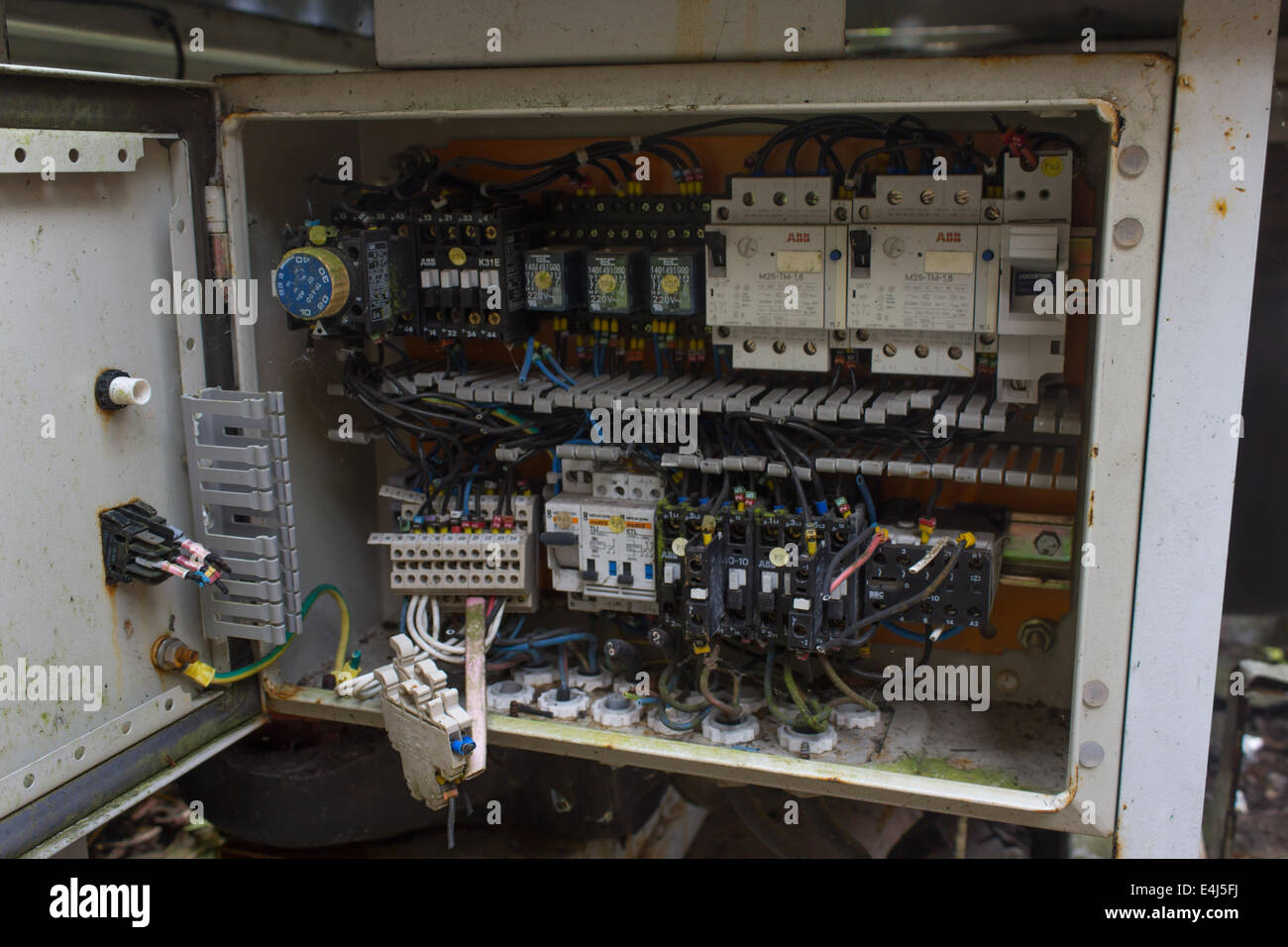 An image showing an old electrical box with RCCB components and ...