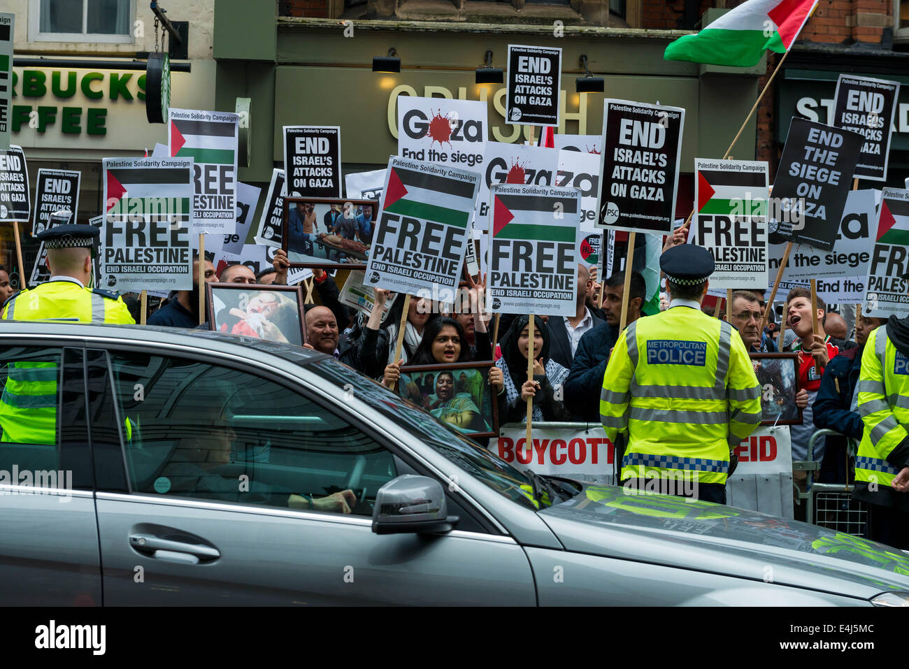 Pro-Palestinian protest in London attracted thousands of supporters and activists - Stock Image