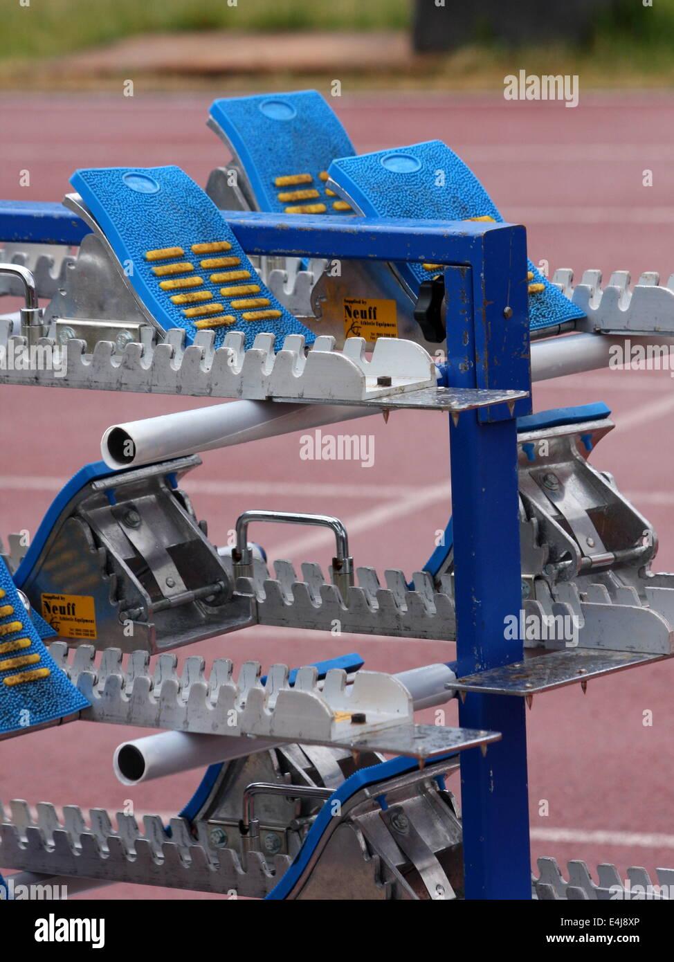Starting blocks on stand - Stock Image