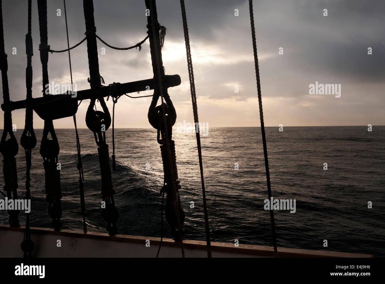 Navigation rigging at sunrise - Stock Image