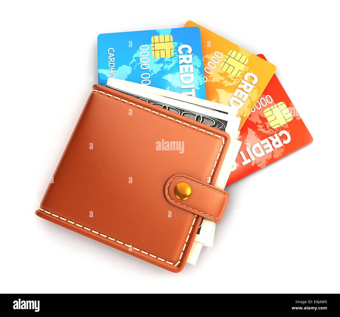 3d wallet with credit cards, isolated white background, 3d image Stock Photo