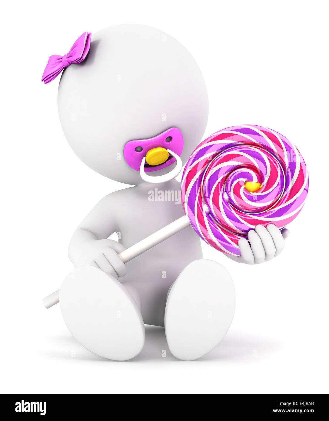3d white people baby girl and a lollipop, isolated white background, 3d image Stock Photo