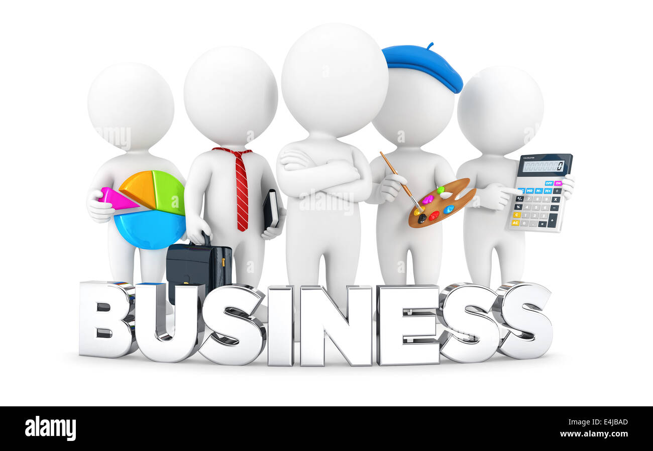 3d white people business jobs, isolated white background, 3d image Stock Photo