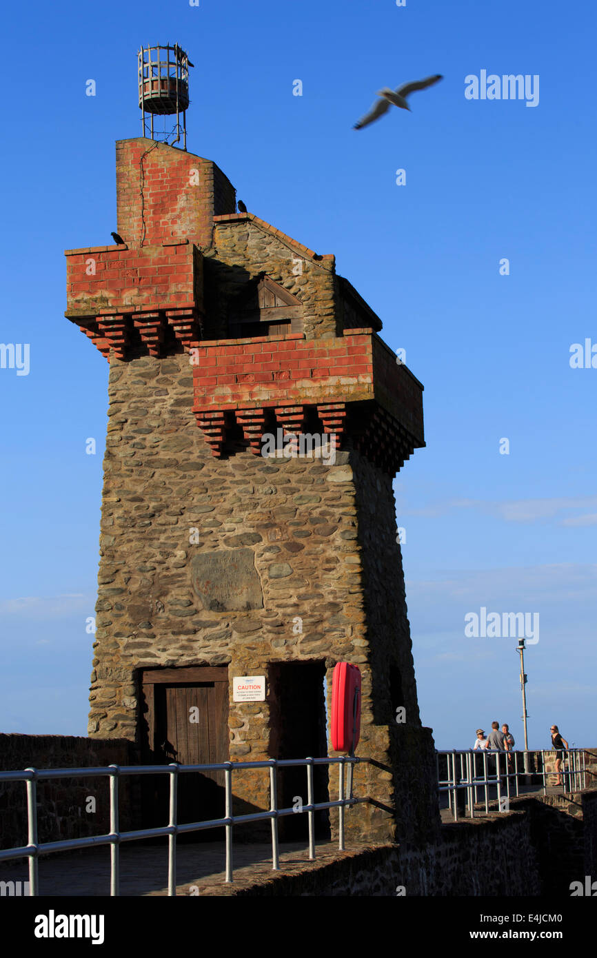 Rhenish Tower, Lynmouth pier, Devon. Stone tower built in the 19th century. - Stock Image