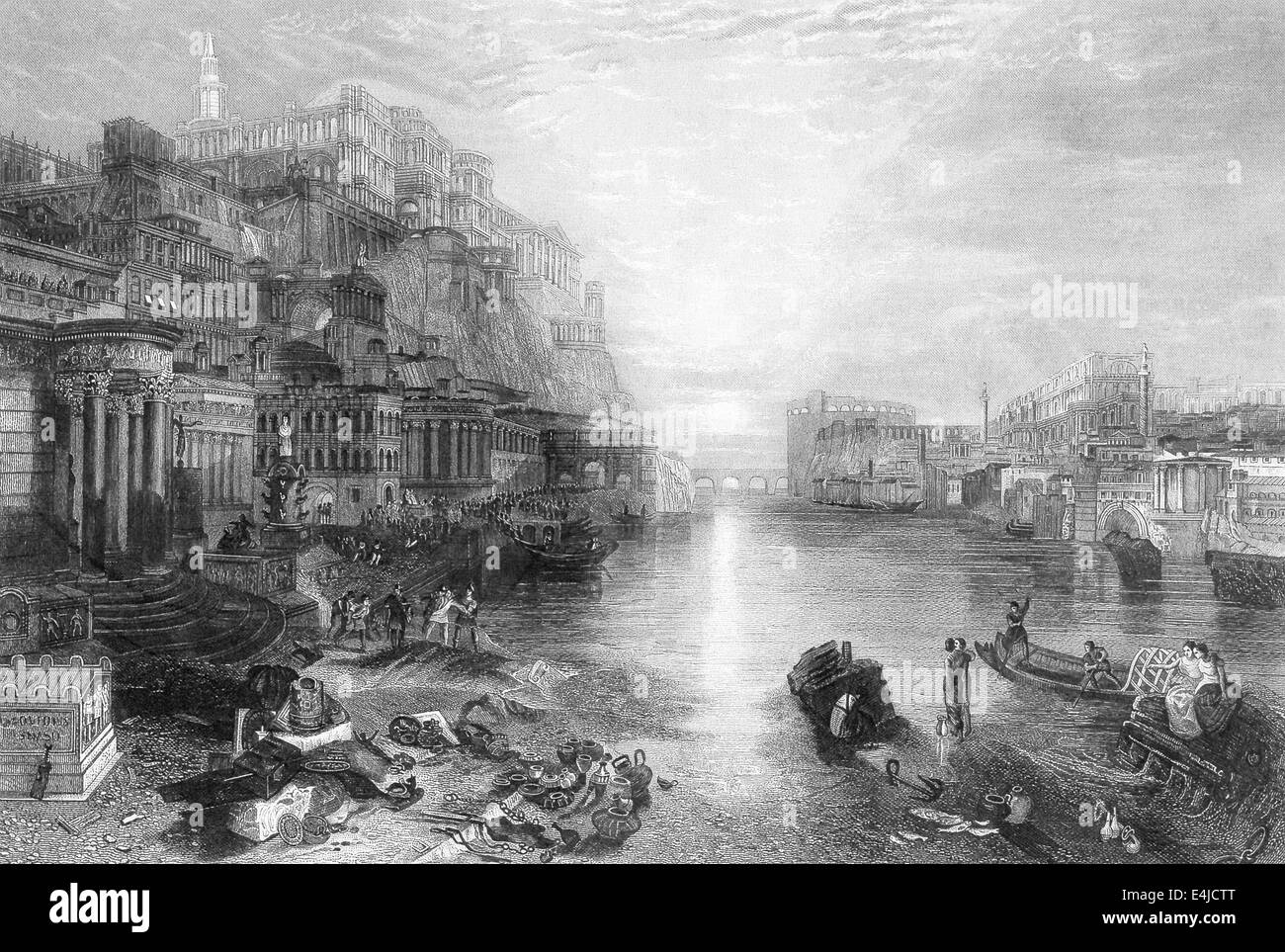 This 1891 illustration shows the Tiber River and the Palace of the Caesars at top left on the Palatine Hill. - Stock Image