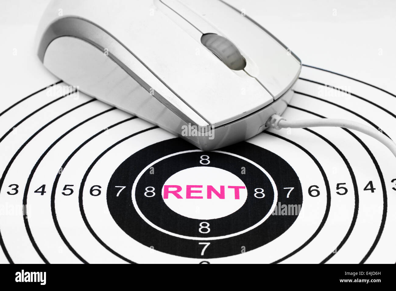 Rent text in target Stock Photo