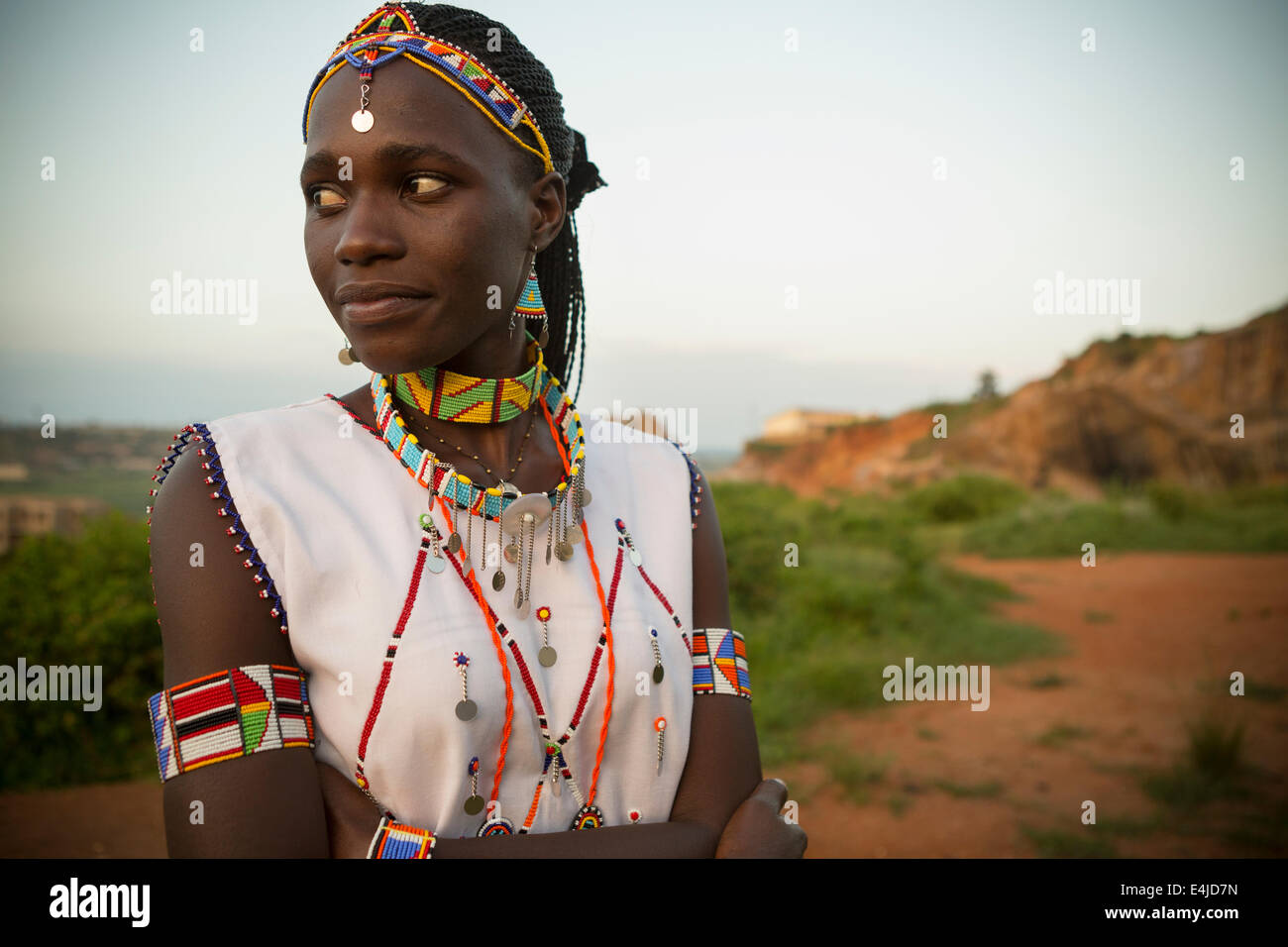 Portrait of young Maasai woman in East Africa. Stock Photo