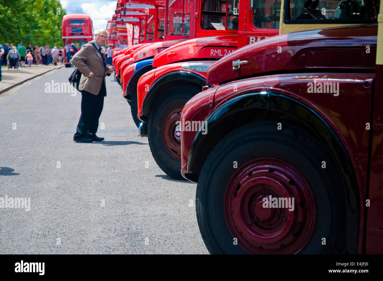 An enthusiast notes down the registration plates of old London red Routemaster buses during a rally at the capital's - Stock Image