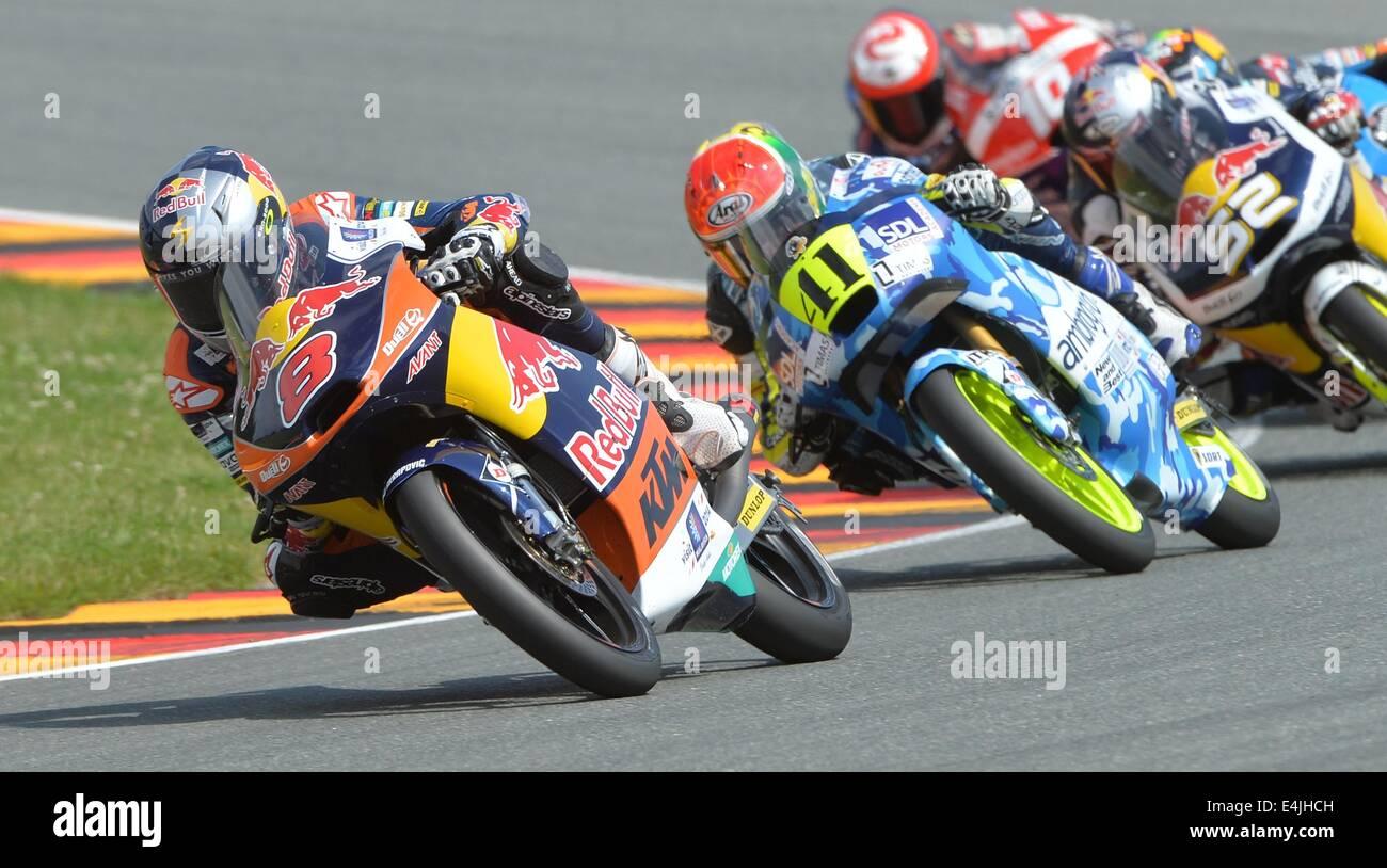 Hohenstein-Ernstthal, Germany. 13th July, 2014. Australian winner Moto3 driver Jack Miller from the Red Bull KTM - Stock Image
