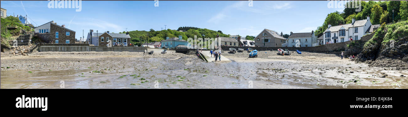 Little Haven from the beach at low tide; Pembrokeshire, Wales, UK - Stock Image