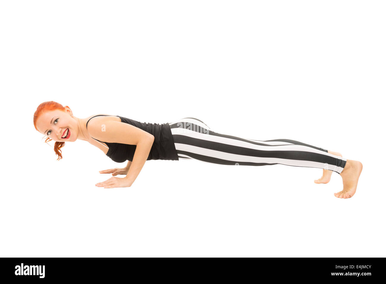 Young Girl Demonstrating Advanced Yoga Pose Full Body View On White Background