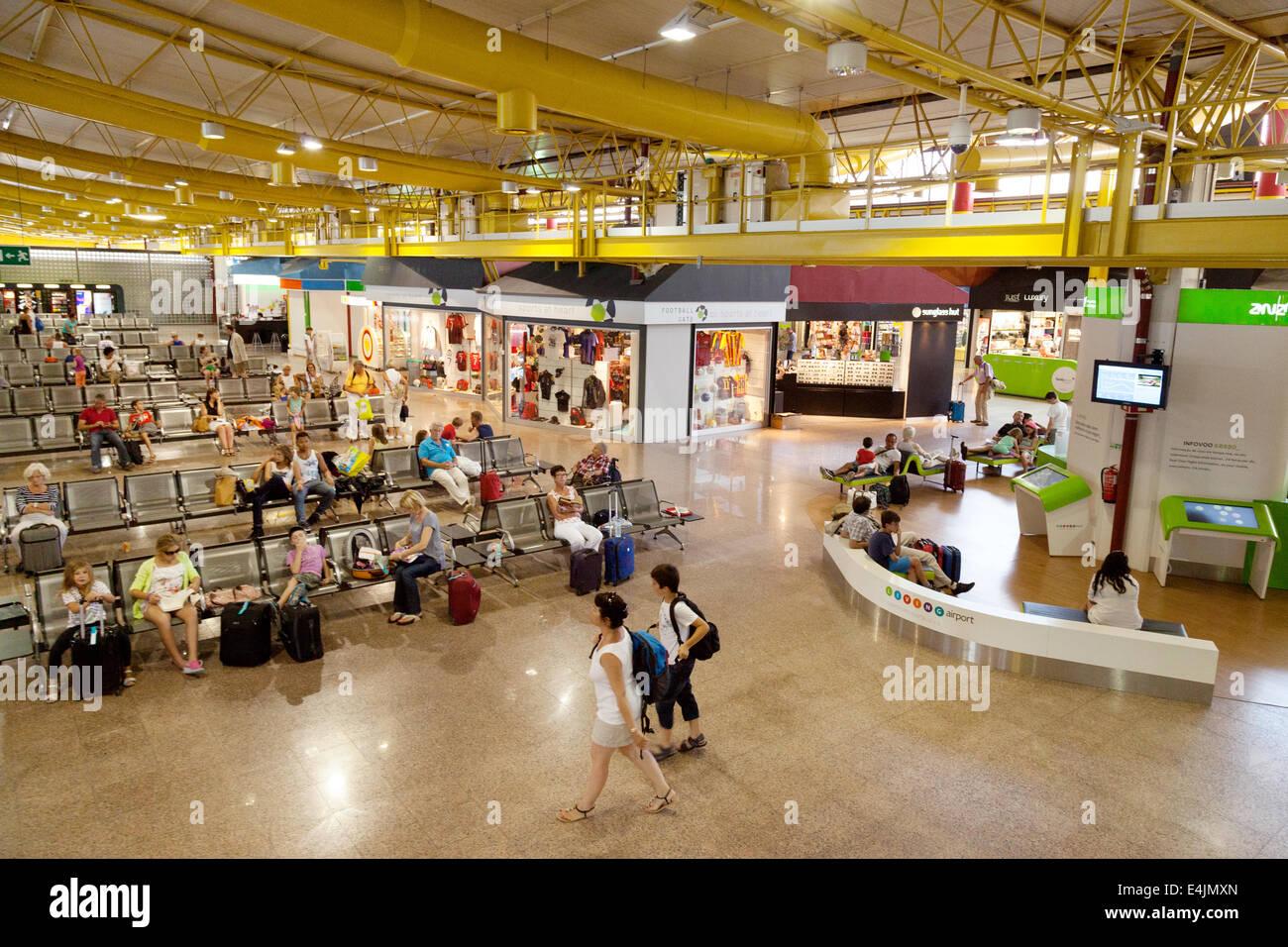 Faro airport departure lounge interior, the terminal, Faro airport, the Algarve, Portugal - Stock Image