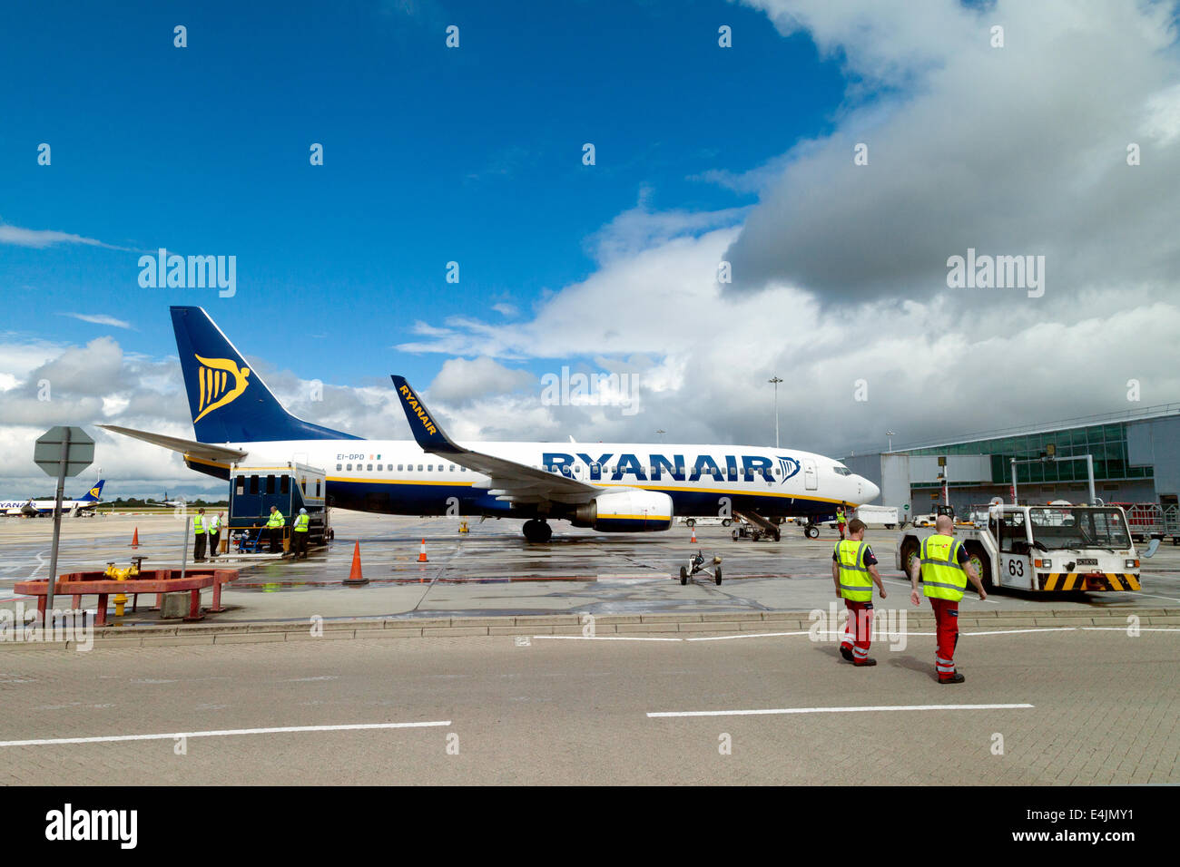 A Ryanair plane on the tarmac, Stansted Airport, London UK - Stock Image
